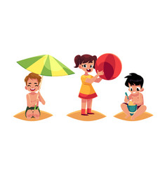 Three babies kids boys and girl playing on vector