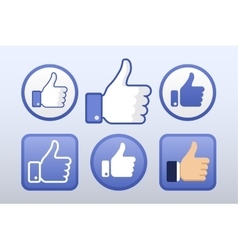 Thumb up like icons set social network vector