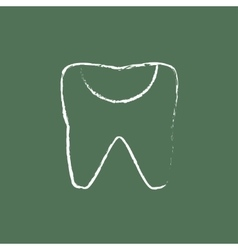 Tooth decay icon drawn in chalk vector