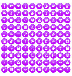100 tea party icons set purple vector