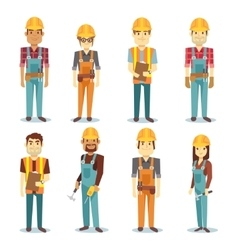 Builder contractor man and female worker vector