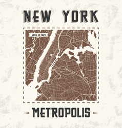 new york city streets t shirt design with city map vector image