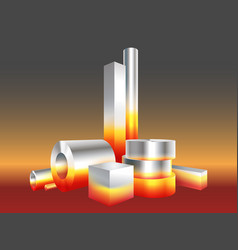 Group different melt hot metal steel objects vector