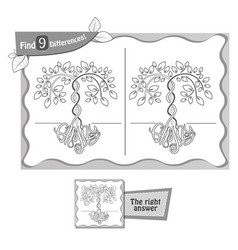 Find 9 differences game family tree vector