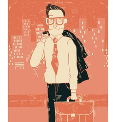 Business man in office clothes in city vector image