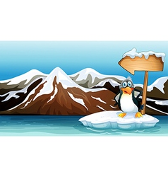 A penguin above the iceberg with an arrowboard vector
