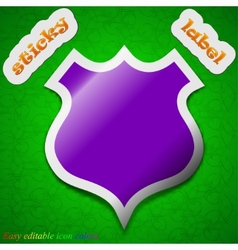 shield icon sign Symbol chic colored sticky label vector image