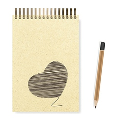 Heart hand painted blank realistic spiral notepad vector