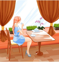 Woman sits in cafe and drink coffee vector