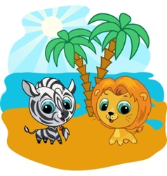 Cute lion and zebra vector