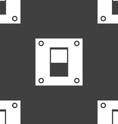 Power switch icon sign seamless pattern on a gray vector