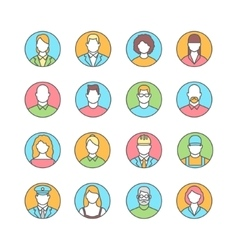 Line flat icons of people avatars profession vector