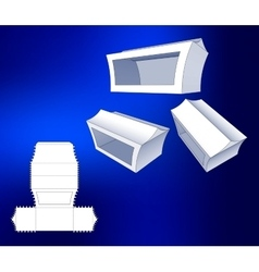 Box with windows die cut template packing box for vector