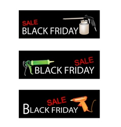 Craft tools on three black friday sale banners vector
