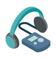 Audio guide icon isometric 3d style vector