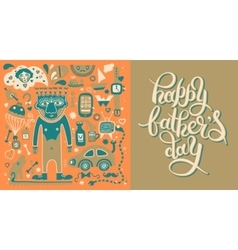 Happy fathers day greeting card with hand vector