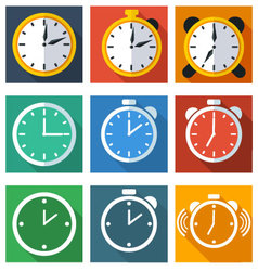 9 flat icons time vector
