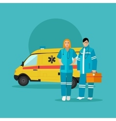 Ambulance car and emergency paramedic team vector