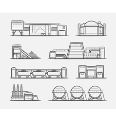 Factories and plants drawing set vector