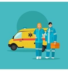 Ambulance car and emergency paramedic team vector image vector image
