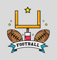 American football goal post with ball and ribbon vector