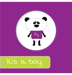 Baby shower card with panda its a boy vector