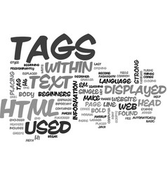 basic html tags for beginners text word cloud vector image
