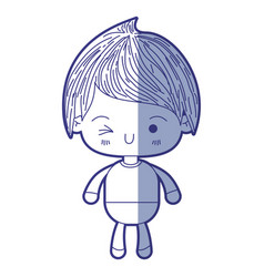 Blue shading silhouette of kawaii little boy vector