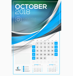 calendar template for 2018 year october design vector image vector image