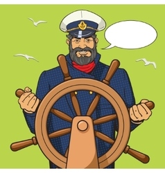 Captain and ship steering wheel pop art vector