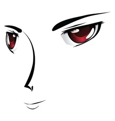 Cartoon face with red eyes vector image