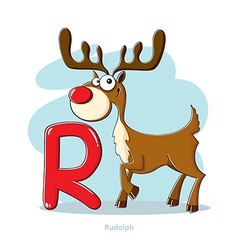 Cartoons alphabet - letter r with funny rudolph vector