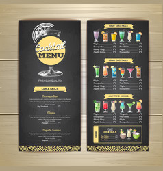 chalk drawing cocktail menu design vector image vector image