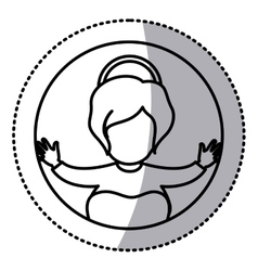 Circular sticker contour of baby jesus vector