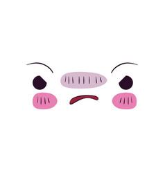 Colorful facial expression kawaii furious vector