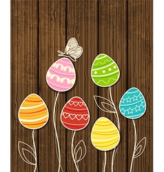 dark wood eggs vector image