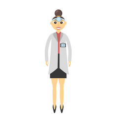 Doctor woman with head-mirror vector