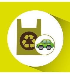 Eco car icon environment plastic bag vector