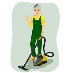 Elderly woman posing with vacuum cleaner vector image vector image