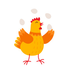 funny hen is juggling by eggs flat vector image vector image