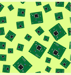 Green circuit board seamless pattern vector