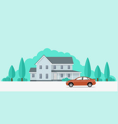 house and car vector image vector image