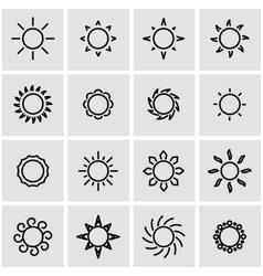 line sun icon set vector image vector image