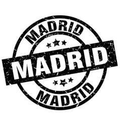 Madrid black round grunge stamp vector
