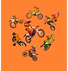Motorcycle motocross set vector