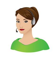 receptionist woman with headset vector image vector image