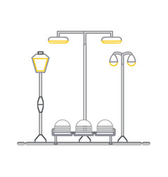 Seats and street lamps vector