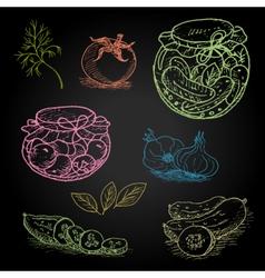 Set of color chalk drawn on a blackboard food vector image