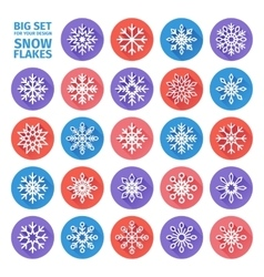 set of icons of snowflakes flat design with long vector image vector image