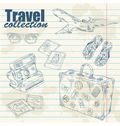 Travel objects on notebook paper vector